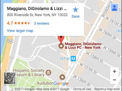 Google Map of Maggiano, DiGirolamo & Lizzi P.C. 800 Riverside Dr, New York, NY 10032