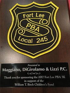 Fort Lee Policeman's Benevolent Association (PBA) Local 245 Honors Maggiano, DiGirolamo & Lizzi, P.C. for Sponsoring 5k Run